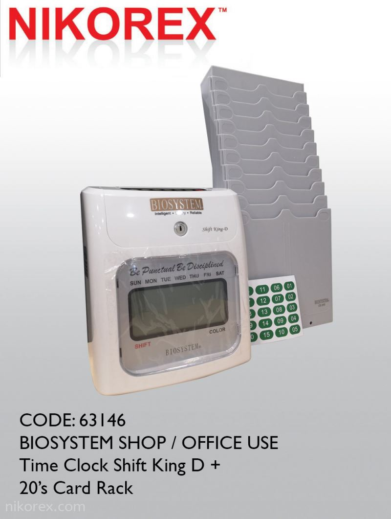 63146 - BIOSYSTEM SHOP / OFFICE USE Time Clock Shift King D + 20¡¯s Card Rack