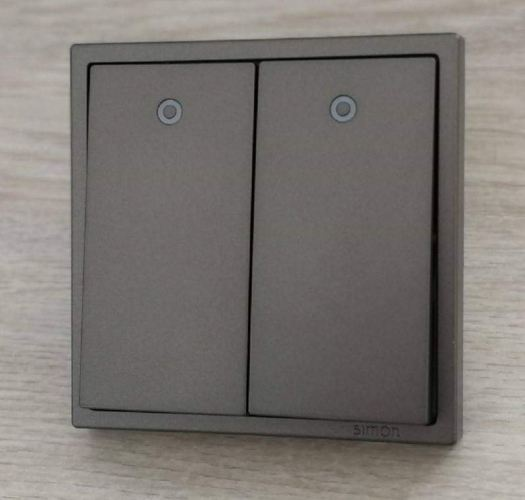 SIMON 701023 16A 2GANG 1WAY SWITCH WITH LED INDICATOR (GRAPHITE BLACK)