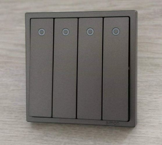 SIMON 701043 10A 4 GANG 1 WAY SWITCH WITH LED INDICATOR (GRAPHITE BLACK)