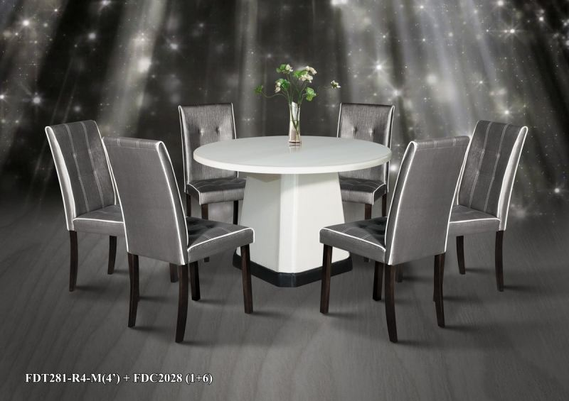 Round Nizrana White Marble Dining Table Set PU leg 6 Chairs Marble Dining Table Set Selangor, Malaysia, Kuala Lumpur (KL), Rasa Supplier, Suppliers, Supply, Supplies | TYF Enterprise