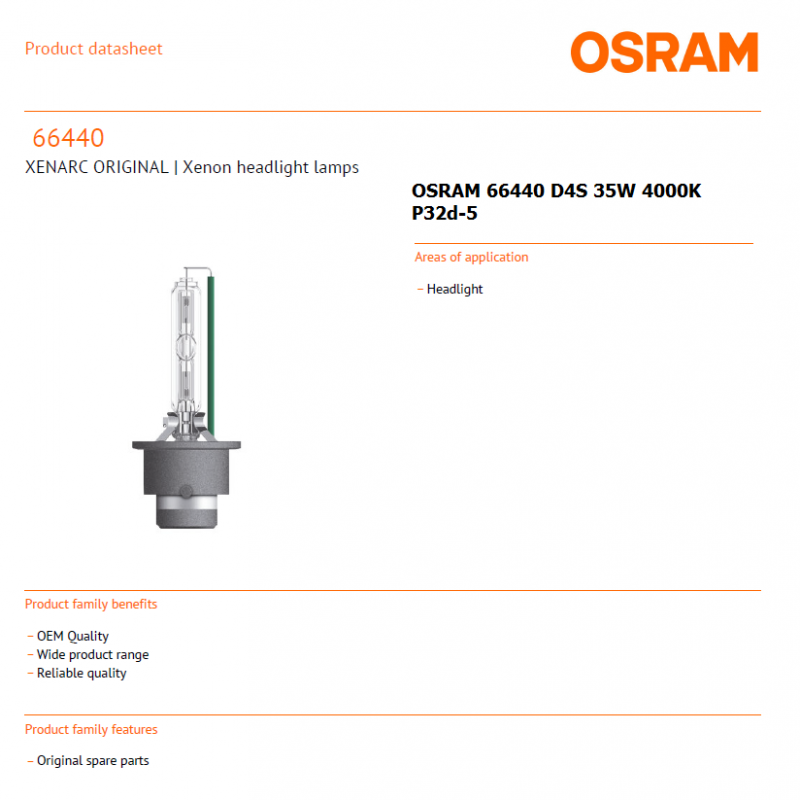 OSRAM 66440 D4S 35W 4000K P32d-5 XENARC ORIGINAL | Xenon headlight lamps