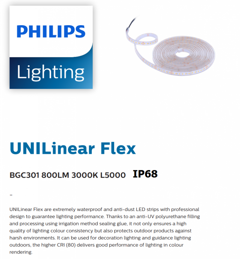 PHILIPS BGC301 41W 800LM 3000K L5000 IP68 911401719692 LED STRIP WATER PROOF