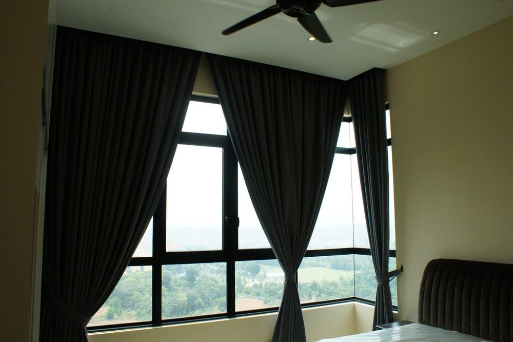 Luxez Hotel Black Out Solid Colour Curtain and Sheer