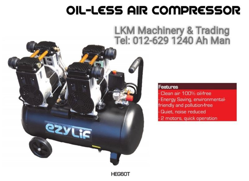 Oil-Less Air Compressor 1.5HP x 2motor 60L tank Air Compressor Seremban, Negeri Sembilan (NS), Malaysia. Supplier, Suppliers, Supply, Supplies | LKM Machinery & Trading