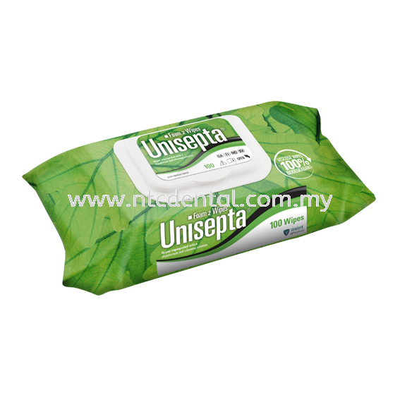 Unisepta Foam 2 Wipes 100pcs (NON-Alcohol Based) Surfaces USF Disinfectant Kuala Lumpur (KL), Malaysia, Selangor, Kepong Supplier, Distributor, Supply, Supplies | NTC Dental Suppliers Sdn Bhd
