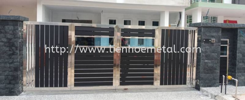 S239 Open Gate And Aluminium and Tempered Glass Stainless Steel  Johor Bahru (JB), Malaysia, Skudai Design, Construction, Installation, Supplier | LH Metal Works & Enterprise