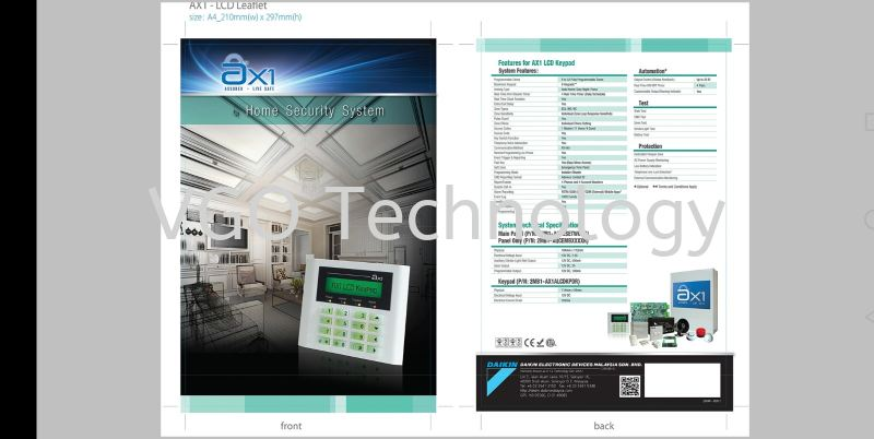 DAIKIN AX1 32 ZONES with LCD KEYPAD Alarm System Penang, Butterworth, Malaysia System, Supplier, Supply, Installation | VGO Technology