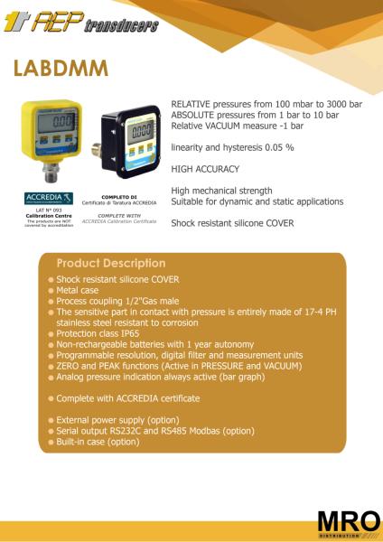 LABDMM Pressure Gauges AEP TRANSDUCERS Selangor, Malaysia, Kuala Lumpur (KL), Subang Jaya Supplier, Suppliers, Supply, Supplies | MRO Distribution Sdn Bhd