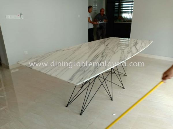 White Marble Dining Table With Modern Stand Design Marble Dining Table Malaysia, Selangor, Kuala Lumpur (KL), Petaling Jaya (PJ) Supplier, Suppliers, Supply, Supplies | DeCasa Marble Sdn Bhd
