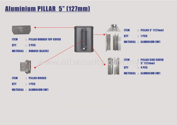 ALUMINIUM PILLAR - MF ALUMINIUM PILLAR GATE ACCESSORIES Singapore, Malaysia, Johor, Selangor, Senai Manufacturer, Supplier, Supply, Supplies | AST Automation Pte Ltd