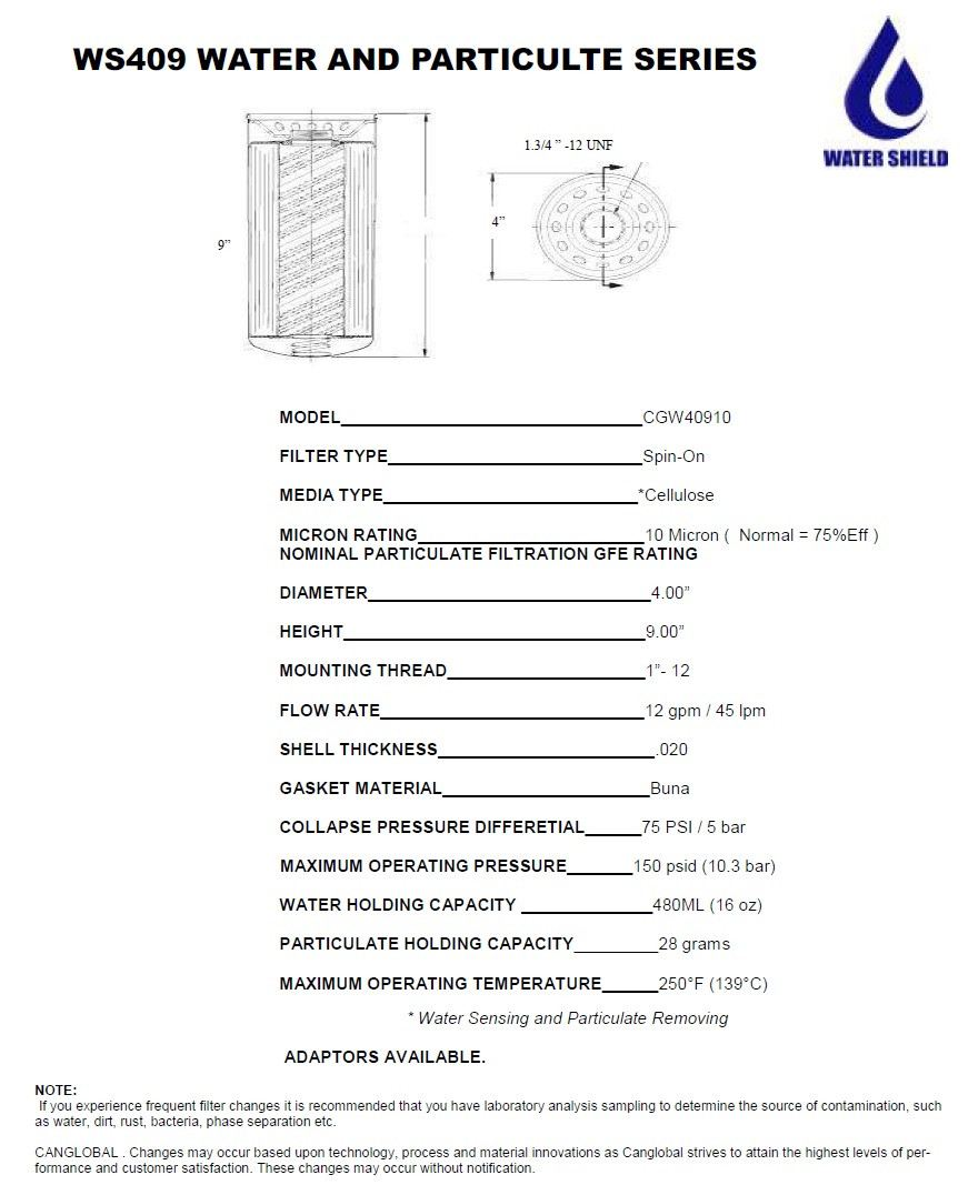WS409 Water and Particulte Series Water Shield Filters Selangor, Malaysia, Kuala Lumpur (KL) Manufacturer, Supplier, Service, Laboratory Testing, Filtration | Canglobal Fluid Power Sdn Bhd