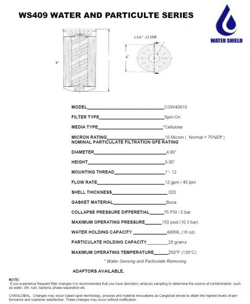 WS409 Water and Particulte Series Water Shield Filters Kuala Lumpur (KL), Malaysia, Selangor. Manufacturer, Supplier, Service, Laboratory Testing, Filtration | Canglobal