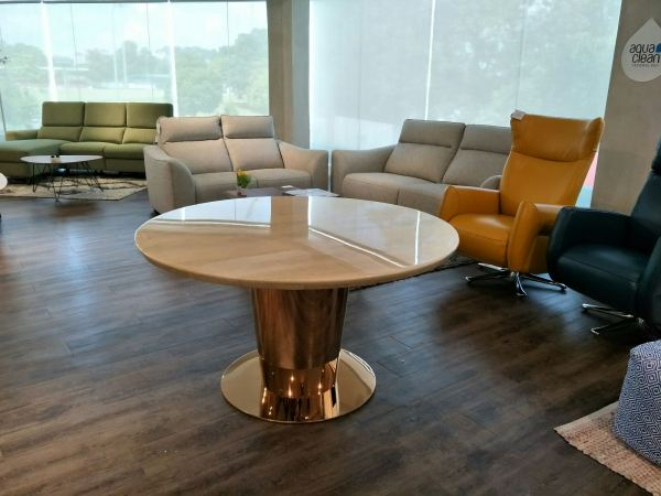 Roma Travertine Marble - Round Dining Table Marble Dining Table UK (United Kingdom) Supplier, Suppliers, Supply, Supplies | Decasa Marble