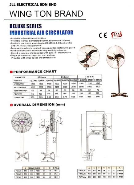WING TON INDUSTRIAL FANS FANS Kuala Lumpur (KL), Selangor, Malaysia Supplier, Supply, Supplies, Distributor   JLL Electrical Sdn Bhd