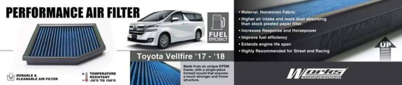 Toyota vellfire 2015-18 Works engineering air filter Vellfire 2015  Toyota Balakong, Selangor, Kuala Lumpur, KL, Malaysia. Body Kits, Accessories, Supplier, Supply | ACM Motorsport