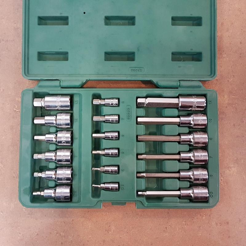 Sata 09053 Dr. Hex Bit Socket Set 18pc,1/4'&1/2', 2kg, Metric ID558465