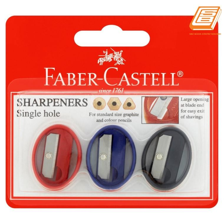 Faber-Castell - Single Hole Sharpener Oval  -PB of 3 pcs - (584903)