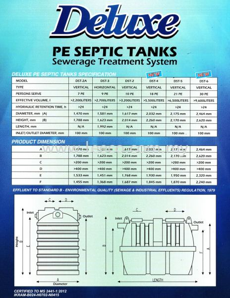 certified PE septic tank specification Sewerage Treatment System Plumbing and Steam Material JB Johor Bahru Malaysia Hardware Supply Suppliers | Leeco Industrial Supply