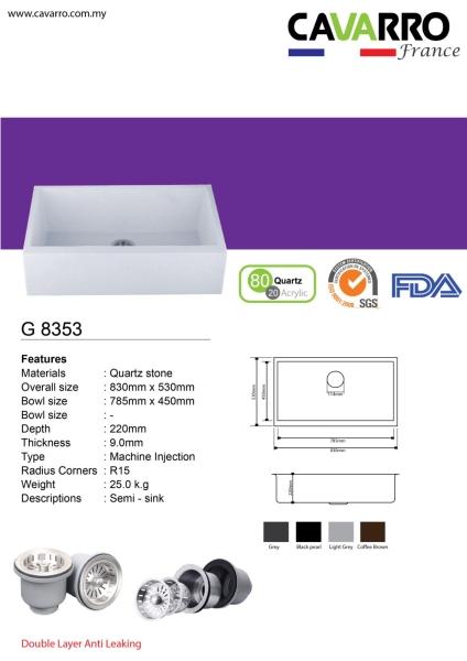 Semi Water Sink (G8353) Semi Water Sink Water Sink Selangor, Malaysia, Kuala Lumpur (KL), Shah Alam, Hulu Langat, Petaling Jaya (PJ) Supplier, Suppliers, Supply, Supplies | Mun Heng Electrical & Hardware Supply