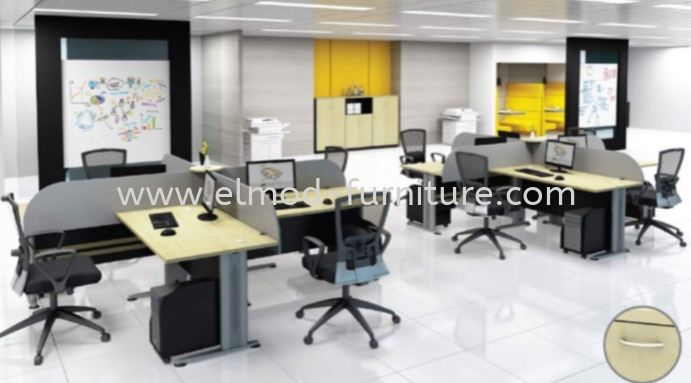 T2 Series Cluster Of 4 Office Workstation  Selangor, Kuala Lumpur (KL), Puchong, Malaysia Supplier, Suppliers, Supply, Supplies | Elmod Online Sdn Bhd