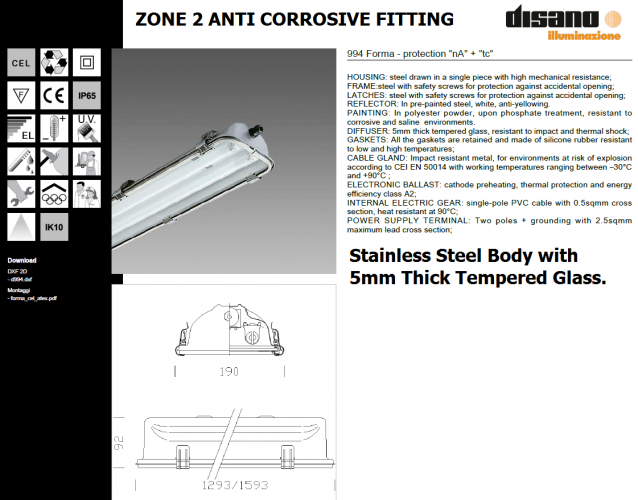 DISANO ZONE 2 236 STAINLESS STEEL BODY & GLASS ANTI-CORROSIVE FITTING