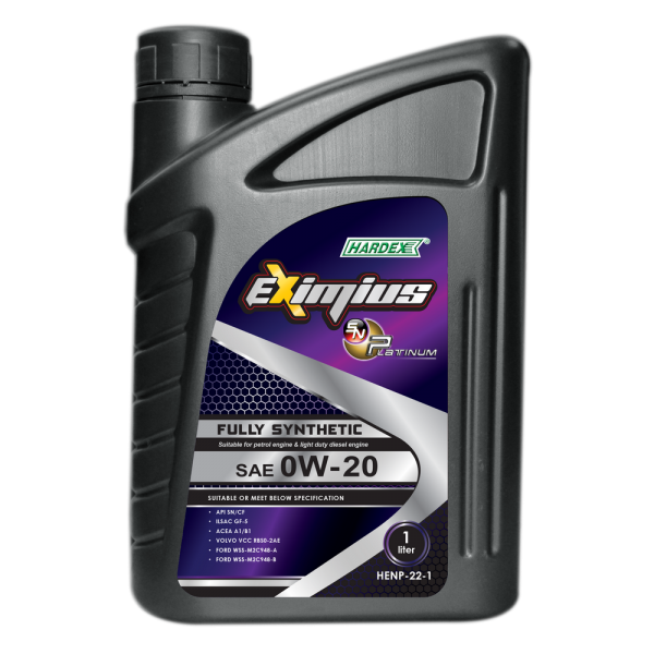 Hardex Eximius Platinum 0W-20 1L HARDEX EXIMIUS SN PLATINUM SERIES FULLY SYNTHETIC ENGINE OIL PETROL ENGINE OIL - EXIMIUS SERIES LUBRICANT PRODUCTS Pahang, Malaysia, Kuantan Manufacturer, Supplier, Distributor, Supply | Hardex Corporation Sdn Bhd