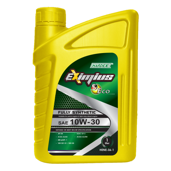 Hardex Eximius Eco 10W-30 1L HARDEX EXIMIUS SN ECO & HARDEX EXIMIUS SN ECO LITE SERIES FULLY SYNTHETIC ENGINE OIL PETROL ENGINE OIL - EXIMIUS SERIES LUBRICANT PRODUCTS Pahang, Malaysia, Kuantan Manufacturer, Supplier, Distributor, Supply | Hardex Corporation Sdn Bhd
