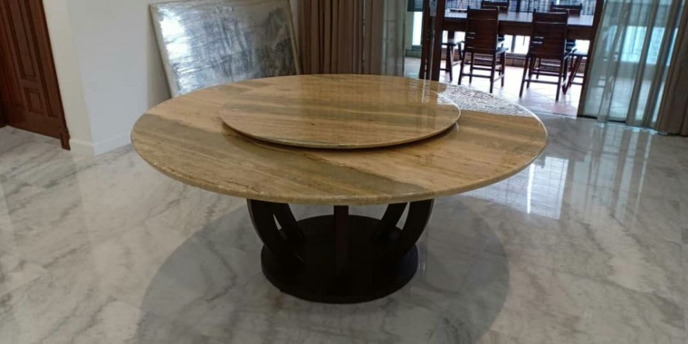 Italian Round Marble Dining Table - Roma Travertine