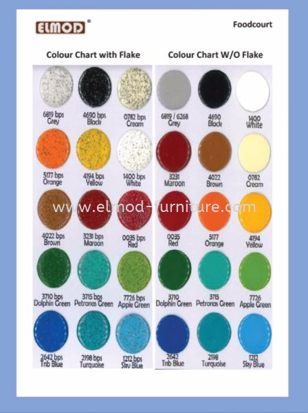 Solid Colour Table & Seat Colour Chart  Food Court Furniture / Canteen Furniture Selangor, Kuala Lumpur (KL), Puchong, Malaysia Supplier, Suppliers, Supply, Supplies | Elmod Online Sdn Bhd