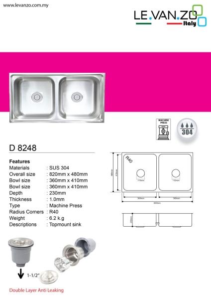Single Water Sink (D 8248) Topmount Water Sink Water Sink Selangor, Malaysia, Kuala Lumpur (KL), Shah Alam, Hulu Langat, Petaling Jaya (PJ) Supplier, Suppliers, Supply, Supplies   Mun Heng Electrical & Hardware Supply