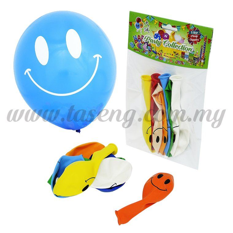 12 inch 1 Side Printed Smiling Face Balloon 7pcs (B-SMF7)