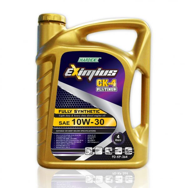 Eximius CK-4 Platinum SAE 10W-30 4L FULLY SYNTHETIC LIGHT & HEAVY DUTY DIESEL ENGINE OIL LUBRICANT PRODUCTS Pahang, Malaysia, Kuantan Manufacturer, Supplier, Distributor, Supply | Hardex Corporation Sdn Bhd
