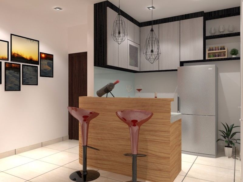 Bar Counter Bar Counter 3D  Dining Area  3D Design Drawing   | HomeBagus - Home and Deco ONLINE EXPO!