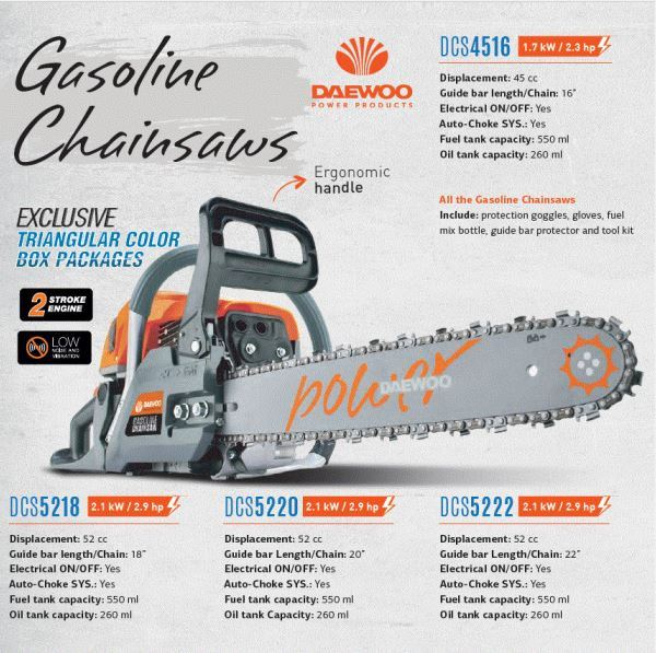 "DAEWOO 16"" GASOLINE CHAIN SAW 45CC 1.7KW, MODEL: CS-DACS4516 (KOREA) GARDEN TOOLS OTHER TOOLS Singapore, Kallang Supplier, Suppliers, Supply, Supplies 