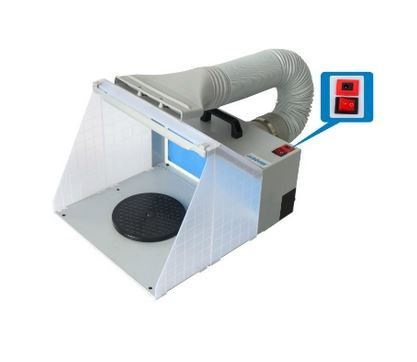 HAOSHENG MINI SUCTION & EXHAUST SPRAY BOOTH WITH LED LIGHT, MODEL: HS-E420DCLK HOBBY CRAFT ESSENTIALS OTHER TOOLS Singapore, Kallang Supplier, Suppliers, Supply, Supplies | DIYTOOLS.SG