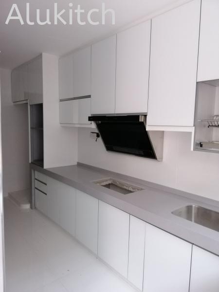 Frameless White Glass with Concrete Table Top Aluminium 4G Glass Seremban, Negeri Sembilan, Malaysia, Selangor, Kuala Lumpur (KL), Kajang, Seri Kembangan, Bangi Cabinet, Supplier, Supply, Supplies | Alukitch Sdn Bhd