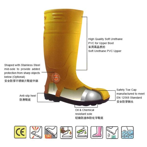 MK-SSS-9400 PVC Safety Rain Shoes (YLW) Foot Protection Safety Equipments Collection Malaysia, Johor Bahru (JB), Ulu Tiram Supplier, Suppliers, Supply, Supplies | Mr. Mark Tools (M) Sdn. Bhd.
