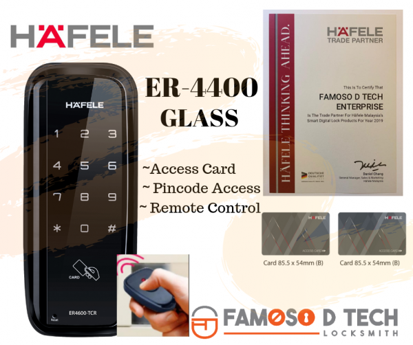 Hafele Digital Lock ER-4400 GLASS Digital Door Lock Johor Bahru (JB), Malaysia, Masai, Pasir Gudang Supplier, Supply, Service | Famoso D Tech Enterprise