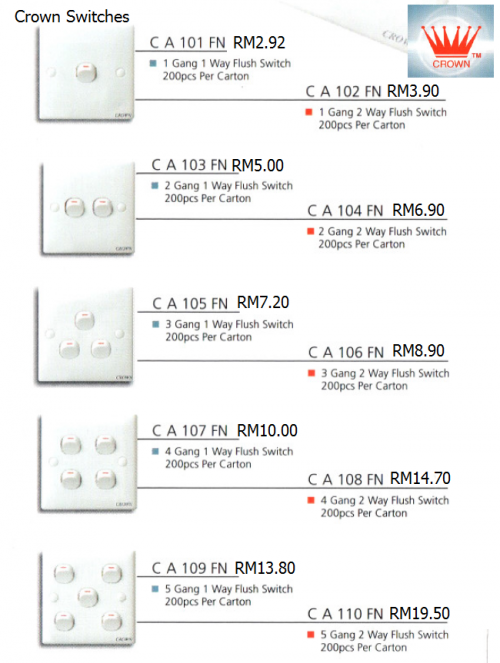 CROWN SWITCHES RANGE & PRICINGS