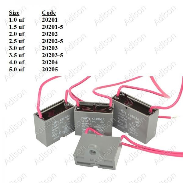 Code: 20220 2.0 uf Fan Capacitor Wire Type Fan Capacitor Wire Type Capacitor Parts Melaka, Malaysia Supplier, Wholesaler, Supply, Supplies   Adison Component Sdn Bhd