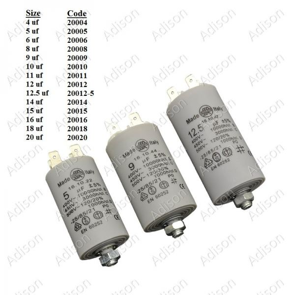 Code: 20012-5 12.5 uf Washing Machine Capacitor Washer Capacitor Italy Type Capacitor Parts Melaka, Malaysia Supplier, Wholesaler, Supply, Supplies | Adison Component Sdn Bhd