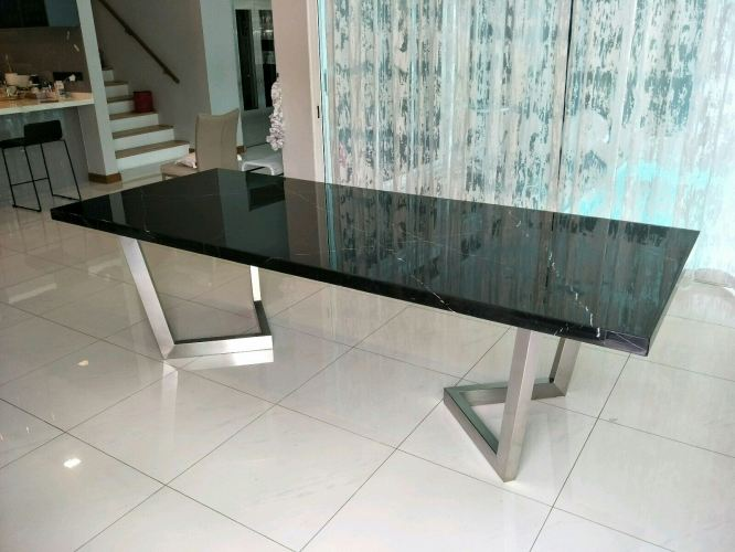 10 Seater Marble Dining Table - Black Marquina Marble
