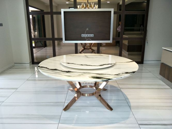 10 Seater Round Marble Dining Table