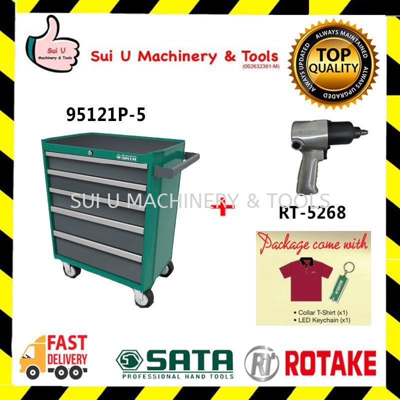 "SATA 95121P-5 5 Drawers Tools Trolley Set 140pcs With Rotake RT5268 1/2"" Air Impact Wrench"