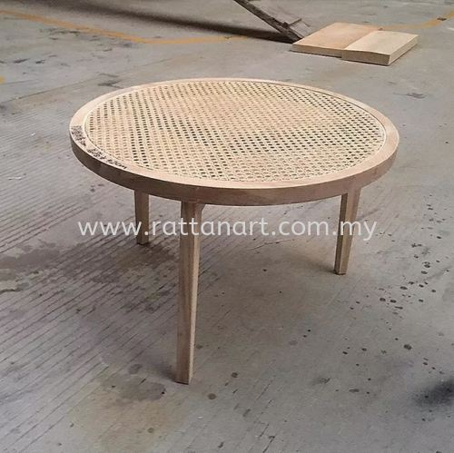 RATTAN + WOOD COFFEE TABLE