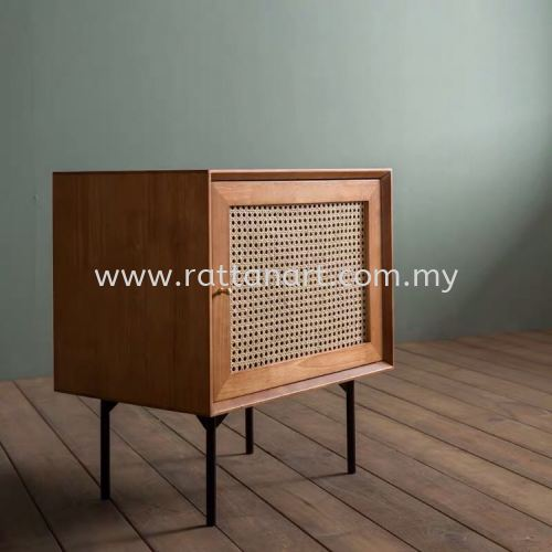 RATTAN + WOOD BEDSIDE TABLE BURNO