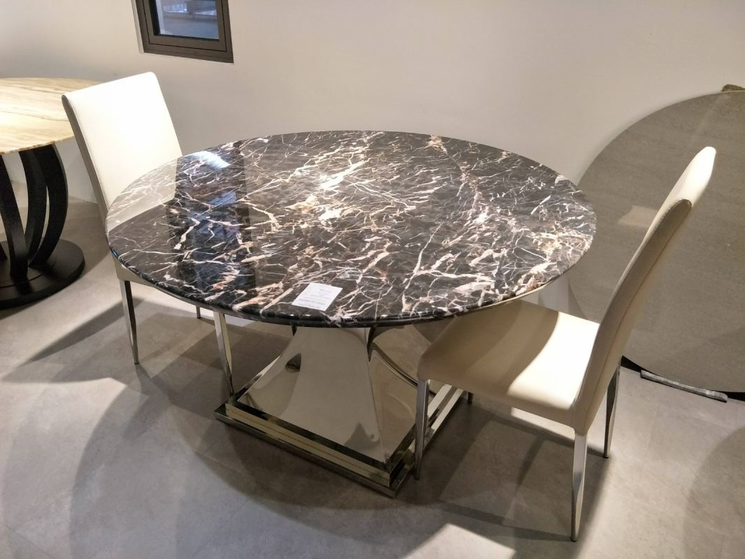 6 Seater - Round Black Marble Dining Table Set With Chairs