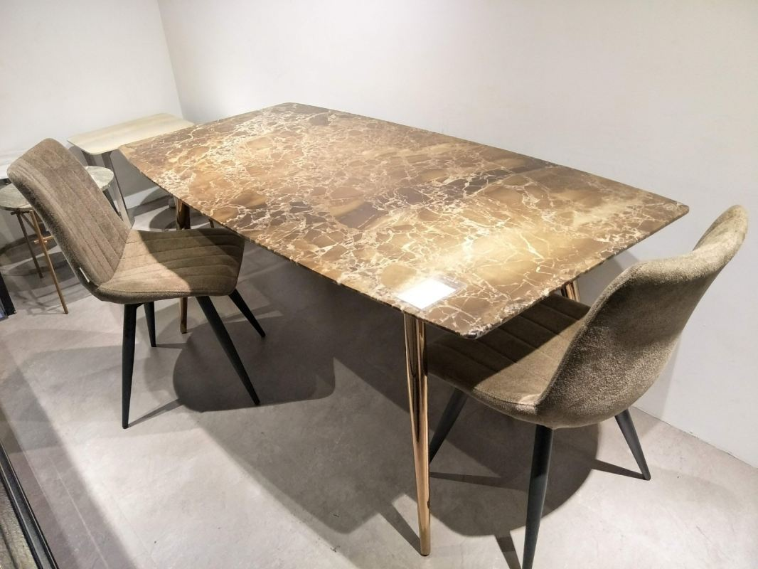 6 Seater - Modern Beige Marble Dining Table Set With Chairs