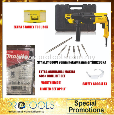 STANLEY SHR263KA 2KG 26MM 3MODE HAMMER WITH STANLEY BITS FOC 3 THING! Stanley Rotary Tools Johor Bahru (JB), Malaysia, Skudai Supplier, Suppliers, Supply, Supplies | Protools Hardware Sdn Bhd