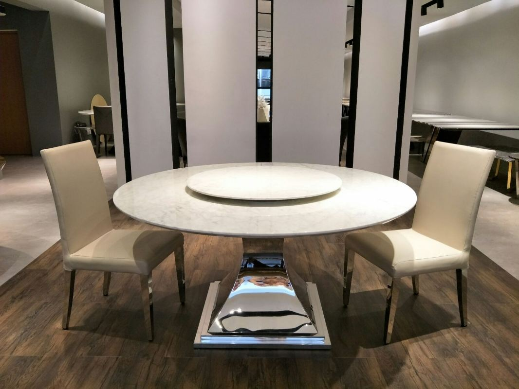 Round White Marble Dining Table Set With Chairs For 8 Seater